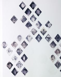 Use printouts of black-and-white family photographs and a diamond template to connect generations in a classic argyle arrangement. #scrapbookprintouts