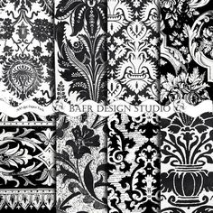 Elegant black and white digital scrapbook papers are perfect for so many projects!