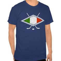 Italia Italy Ice Hockey Flag T-Shirt.  All designs are available on many styles of t-shirts and hoodies! To see more #hockey tees, please check out my store: http://www.zazzle.com/gamefacegear*/