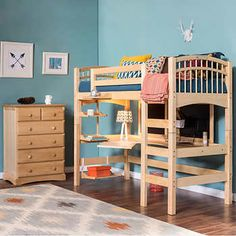 Mckenzie Twin Study Loft Bedroom Set Meets all CPSC Bunk Safety StandardsIncludes Moveable Ladder, Desk Top and Integrated DresserSolid Beech Hardwood ConstructionAdjustable Left or Right Ladder Configuration Hanging Bookshelves, Bed Shelves, Bookcase, Bunk Beds With Stairs, Kids Bunk Beds, Loft Beds, Loft Bed Frame, Kids Bedroom Sets, Bedroom Ideas