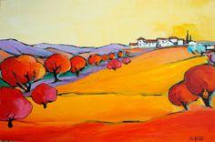 """de retour de vacances, des paysages de provence, du soleil, de la lumière le retour vers le """"nord"""" a été très très dur la peinture du jour : Alpilles Huile sur toile (chassis bois) Format : 90 x 60 cm"""