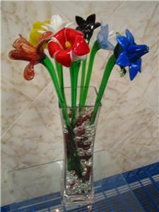 long stem glass flowers details about murano glass flower long stem butterfly feeder yellow - Glass Flowers