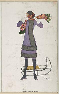 Woman with Sled, Artist: Mela Koehler (Austrian, Vienna 1885–1960 Stockholm) Publisher: Wiener Werkstätte Date: 1911