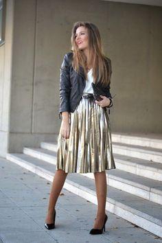 @roressclothes closet ideas #women fashion outfit #clothing style apparel black leather jacket , Metallic Midi Skirt