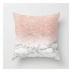 Modern faux rose pink glitter ombre white marble Throw Pillow ($20) ❤ liked on Polyvore featuring home, home decor, throw pillows, mod home decor, pink toss pillows, pink accent pillows, pink home decor and modern home decor