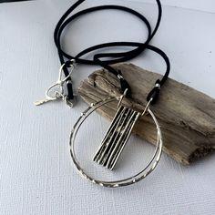 Modern geometric silver pendant, minimalist pendant necklace, long silver pendant by LunicaDesignJewelry on Etsy