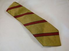 Vintage Tie / Olive Green, Red and Black Striped Tie / 1980s Polyester Skinny Necktie by VintageBaublesnBits on Etsy