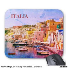 Italy Vintage Art Fishing Port of Procida Mouse Pad Souvenirs From Italy, Vintage Art, Fishing, Island, Photography, Block Island, Photograph, Islands, Fotografie