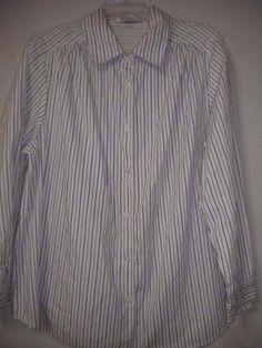 42ac36e92df Roaman s Plus Size 1X White Black Long Sleeve Button Women Career Dress  Shirt  Roamans