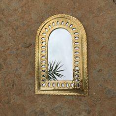 Brass Hammered Mirror (mushmina)