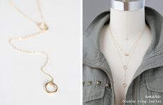 Double Ring Lariat Necklace  Gold Filled or Sterling by junghwa, $36.00