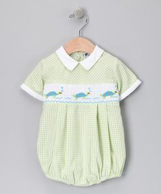 Take a look at this Green Gingham Turtle Bubble Bodysuit - Infant by Timeless Attire: Kid's Smocking on #zulily today! What's not to love about baby boys and smocked turtles?