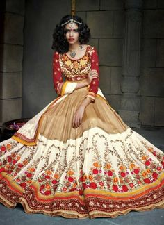 Charismatic White And Brown Pure Soft Net With Georgette A Line Lehenga Choli