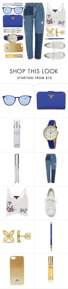"""""""Pop Of Blue"""" by jomashop ❤ liked on Polyvore featuring Ray-Ban, Prada, Kenneth Cole, FOSSIL, Chantecaille, River Island, Topshop, Santoni, Clarins and Elizabeth Taylor"""