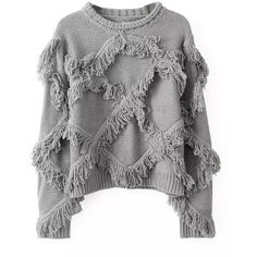 Blackfive Tassel Detailed Cropped Pullover Jumper (£21) ❤ liked on Polyvore featuring tops, sweaters, blackfive, jumpers, shirts, long pullover sweater, crop shirts, long loose shirts, grey sweater and grey shirt