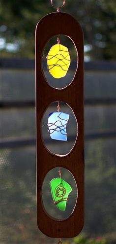 Wind Chime Large Copper Cedar Glass Windchimes - Coast Chimes - 2