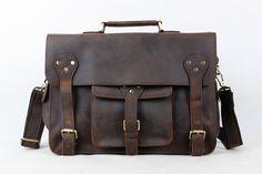 Vintage Genuine Leather Briefcase, Messenger Bag, Laptop Bag
