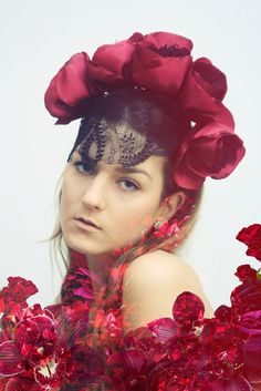 Spanish Passion  floral crown with veil in by DDSLLGirlsStore, $60.00