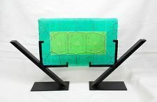 NEW Hand Created Fused Glass Textured Iridized Green Turtle Shell in Stand Decor