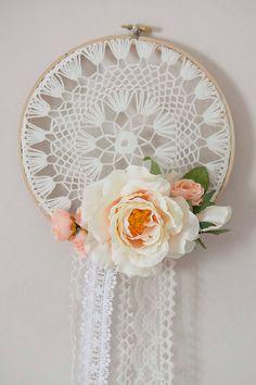 Bohemian Peach Floral Dream Catcher by loveandlacemelanie on Etsy
