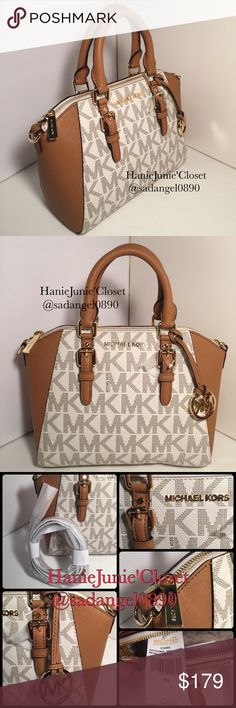 "🌈🦄MICHAEL KORS CIARA MD MESSENGER LEATHER BAG Brand new and 100% Authentic Color: Signature vanilla Acron Saffiano leather w/ mini grommets decorative accent Top zip closure. Double handles - drop 4"" Gold-tone hardware  Michael Kors lettering logo on front 10"" length x 8"" tall x 4.75"" deep Removable & adjustable strap - drop 20"" - 23"". Inside: MK signature fabric lining 1 zippered pocket & 1 large slip pocket Feet on base NO DUST BAG Michael Kors Bags Satchels"