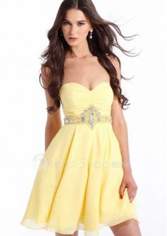 Short Sweetheart Yellow Chiffon A line Cocktail Dress with Ruched ...