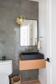 Powder room decorating ideas - powder room design and pictures Grey Bathrooms, Beautiful Bathrooms, Modern Bathroom, Small Bathroom, Bathroom Ideas, Bathroom Designs, Masculine Bathroom, Beige Bathroom, Interior Design Trends