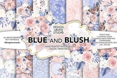 Watercolor BLUE and BLUSH digital paper pack - flower seamless pattern background set Wedding Clip, Wedding Paper, Nursery Patterns, Wedding Background, Flower Clipart, Graphic Patterns, Graphic Design, Lace Weddings, Texture Design