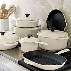 Le Creuset® Cream Skillet in Enamel Cookware. Pin to win a 20 piece set from Le Creuset! Click through to enter to win!