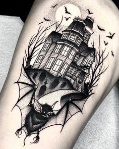 Welcome to bat world   Life Tattoos, Body Art Tattoos, Sleeve Tattoos, Foot Tattoos, Flower Tattoos, Unique Tattoos, Beautiful Tattoos, Gotik Tattoo, Haunted House Tattoo