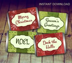 Mini Candy Wrappers - Christmas Candy Wrappers, Christmas Wraps, Hershey Mini, Holiday Candy Wrapper, Teacher's Gift, Christmas Printable by LittlePrintsOttawa on Etsy