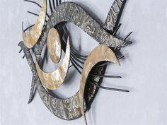 Luxury WAND DEKO Auge Muschel aus Metall Breite cm H he cm schwarz mit silber