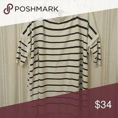 Sweater poncho ADORABLE striped sweater poncho, three quarter sleeves White House Black Market Sweaters Shrugs & Ponchos