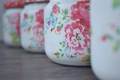 Mason jars - set of four - shabby - romantic - vintage - cottage - Cath Kidston style - flowers Can Storage, Storage Caddy, Recycle Cans, Recycling, Red Mason Jars, Apothecary Jars, Cath Kidston, Etsy Vintage, Sunglasses Case
