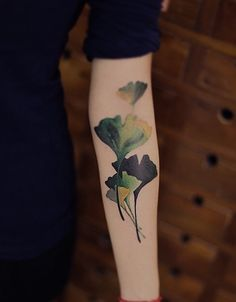 Tattoo Ginko Leaves Arm Tattoos Bras Japanese Blue - New Tattoo Models Tattoos Bras, Arm Tattoos, Leaf Tattoos, Body Art Tattoos, Small Tattoos, Sleeve Tattoos, Temporary Tattoos, Blatt Tattoos, Tattoo Cover