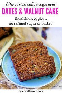 What if I say this is the easiest sugar free cake you will ever bake! Yes this eggless healthy Dates and Walnut Cake is one of those moist loaf cake recipes that has no refined sugar, no butter made Eggless Desserts, Eggless Recipes, Eggless Baking, Healthy Cake Recipes, Baking Recipes, Sweet Recipes, Dessert Recipes, Breakfast Recipes, Vegan Breakfast