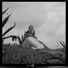 """Frida Kahlo  - Creator(s): Frissell, Toni, 1907-1988, photographer Date Created/Published: [1937] - Frida Kahlo (Senora Diego Rivera) seated next to an agave plant, during a photo shoot for Vogue magazine, """"Senoras of Mexico"""""""
