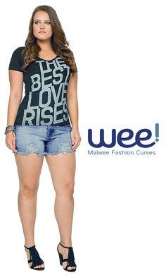 Maxi letreiros dão um toque street para o look. Aposte! #fashion #fashioncurves #weefashion