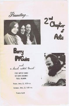 Eve of Destruction Music | Jesus Music! Barry McGuire and 2nd Chapter Of Acts Concert Flyer