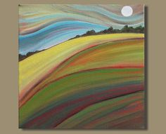 abstract painting, landscape painting, full moon painting, hill painting, fields painting, small art, modern art (10x10) An Early Moon