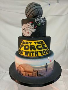 This is the cake youre looking for (I hand painted this Star Wars Cake!) : Star - Star Wars Cookie - Ideas of Star Wars Cookie - This is the cake youre looking for (I hand painted this Star Wars Cake! Star Wars Wedding Cake, Star Wars Birthday Cake, 18th Birthday Cake, Star Wars Party, Happy Birthday, Star Wars Cake Toppers, Star Wars Cupcakes, Star Wars Cookies, Cake Wallpaper