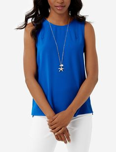 Sleeveless Shell - Substantial crepe has a rich drape with flattering, fluid movement. Whether paired with denim or suiting, this top is easy to style!