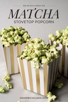 Matcha (Green Tea) Stovetop Popcorn Recipe