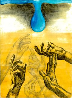 """""""Human Pollution"""" by Rachel J., Honorable Mention Award Winner (Middle School) in the 2016 Ocean Awareness Student Contest #art #hands #water #pollution"""