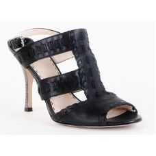 Coach Black Leather Woven Heels