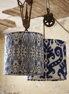 Lacefield Designs #Indigo pendant shades on #vintage rope and pulleys www.lacefielddesigns.com