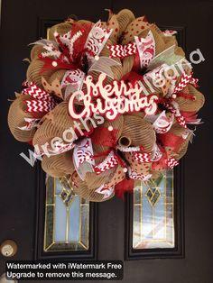 Snowman deco mesh wreath, burlap christmas wreath, red and burlap christmas wreath,  Wreaths by Ileana #66