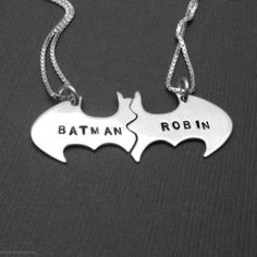 jewels, robin, couple, pair, silver, necklace, batman   Wheretoget.it