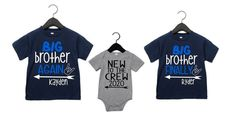 Big Brother Again Big Brother Finally and New to the Crew Personalized Shirts New Sibling, Sibling Shirts, Sister Shirts, Promoted To Big Brother, Mom Tumbler, Personalized Shirts, Matching Shirts, Heat Press, Siblings