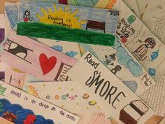 These bookmarks are spectacular! Many thanks to our  Challenge Team of the Week, Camp Read S'more. Keep your bookmarks (and photos) coming! Bookmark Ideas, How To Make Bookmarks, Literacy, Thankful, Challenges, Diy Crafts, Learning, Photos, Photography